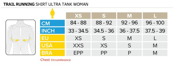 Tableau des tailles TRAIL ULTRA TANK WOMAN